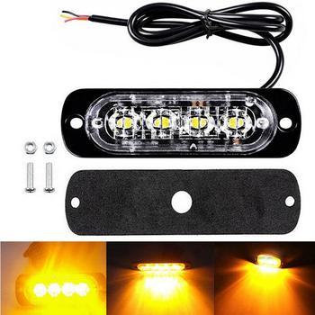 цена на 4 Led Strobe Warning Light Strobe Grille Flashing Lightbar Truck Car Beacon Lamp Amber Blue Red Traffic Light