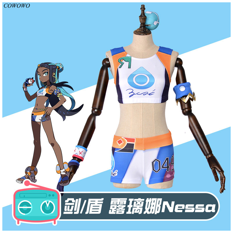 Anime! Pokemon Nessa Lovely Sexy Uniform Cosplay Costume Halloween Party Role Play Suit For Women 2020 NEW Free Shipping