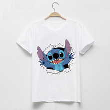 LUSLOS Women's Fashion T-Shirt Lilo Stitch Harajuku Kawaii Tshirts Lovely Cartoo