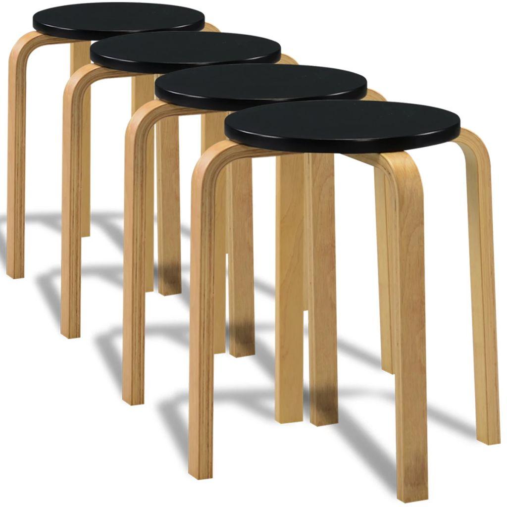 VidaXL Bar Stools 4 Pcs Black Bent Wood