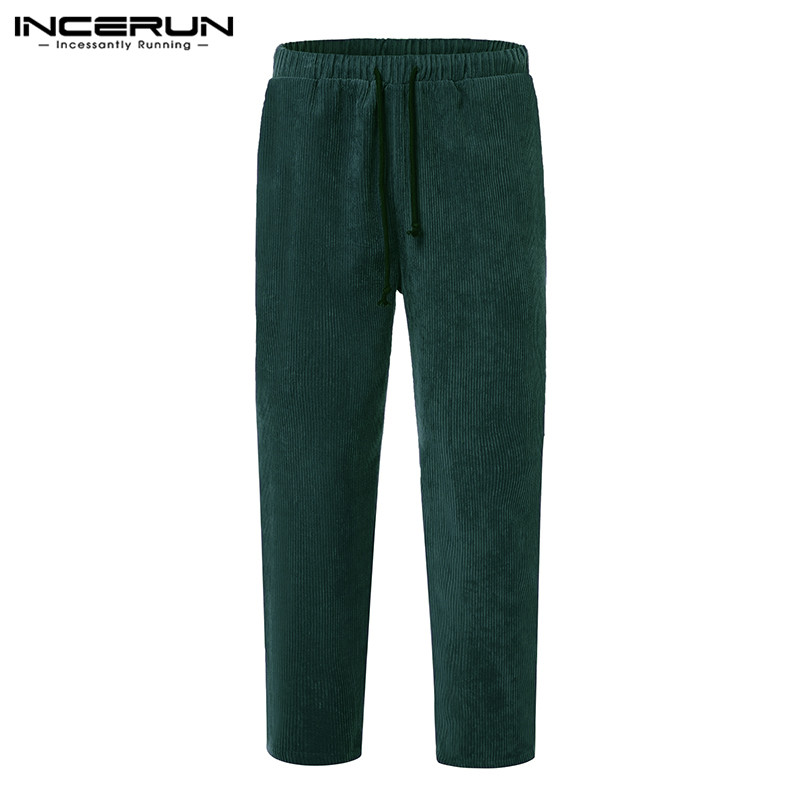 INCERUN Men Casual Trousers Solid Corduroy Joker Elastic Waist Sweatpants Autumn Fashion Joggers Mens Lacing Harem Pants 2020