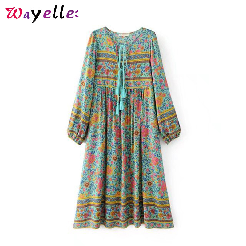 Lantern Sleeve Beach Dresses Boho Vintage Floral Print Tassel Summer Dress V Neck Casual Tide Women Long