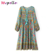 купить Lantern Sleeve Beach Dresses Boho Vintage Floral Print Tassel Summer Dress V Neck Casual Tide Dress Women Long Sleeve Boho Dress онлайн
