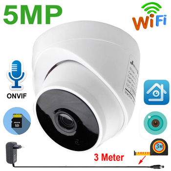 JIENUO 5MP IP Camera Wireless 64G Cctv Security Surveillance Audio Night Vision Infrared Network Dome Wifi Home Cam XMeye ICSee jienuo home camera wifi ip 1080p 720p audio dome cctv security hd surveillance indoor wireless infrared night vision monitor cam