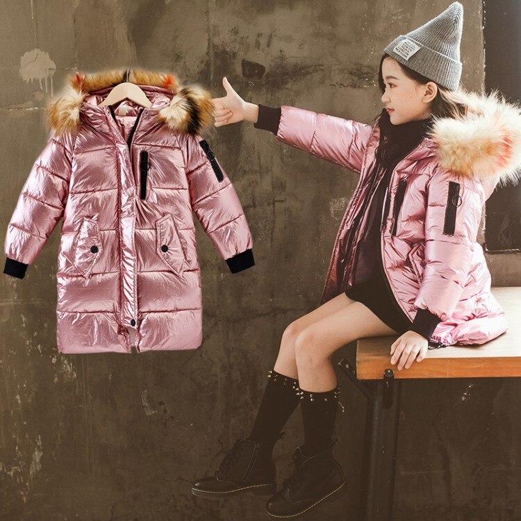 Новинка, зимняя хлопковая куртка для детей, зимнее пуховое теплое пальто для девочек с теплым меховым воротником, длинное ФЛУОРЕСЦЕНТНОЕ па...