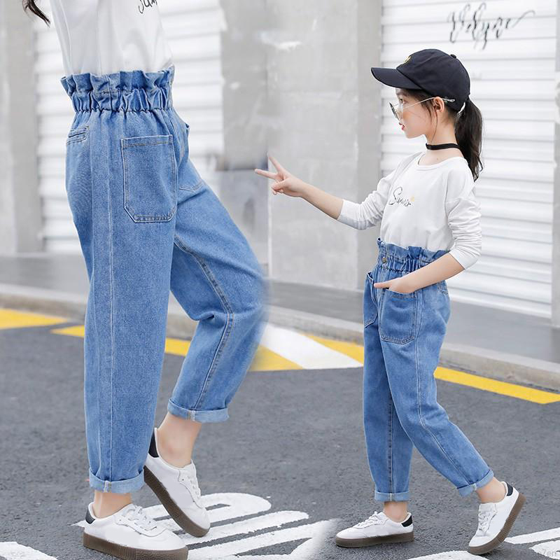 2020 Spring And Autumn Girls High Waist Jeans Blue Slim Fit Denim Material For Girls Trousers Pants