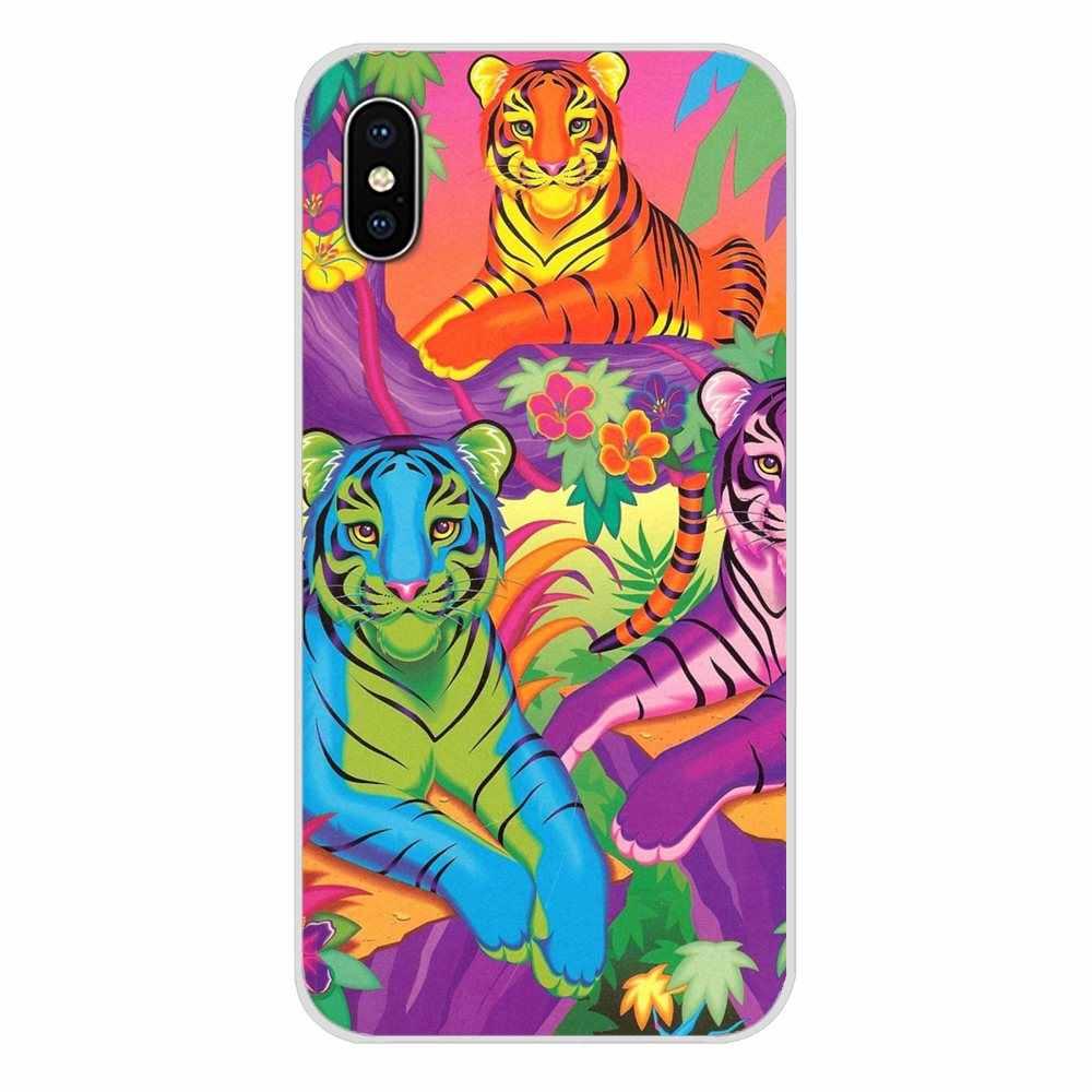 Voor Motorola Moto X4 E4 E5 G5 G5S G6 Z Z2 Z3 G G2 G3 C Play Plus Regenboog Lisa frank tijger paard hond Kat Transparante TPU Bag Case