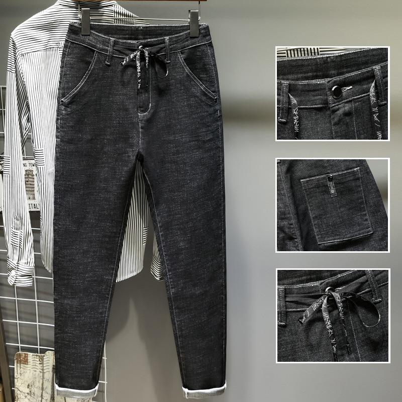 Autumn Harem Pants Men's Black Lace-up Jeans Elasticity Skinny Pants
