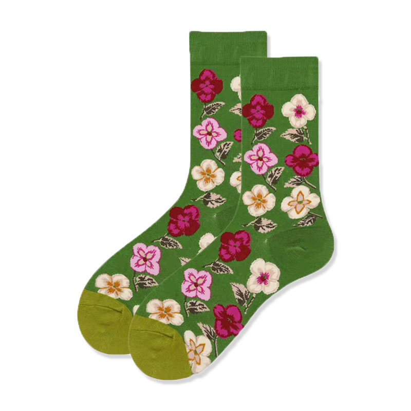 New Sports Printing Women's Green European And American Men Socks Flowers Four Seasons Cotton Hip-hop Couple Tube Socks Fashion