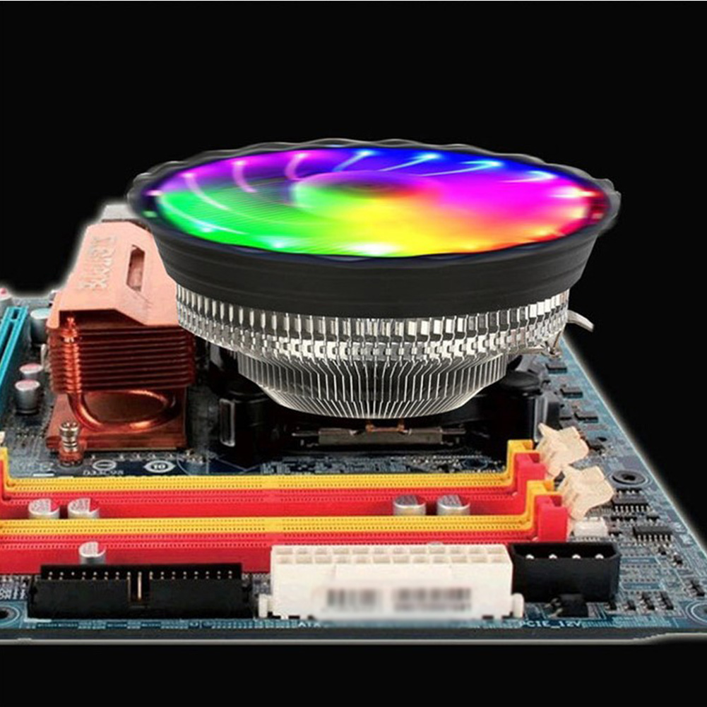 3pin <font><b>CPU</b></font> Cooling Fan <font><b>Cooler</b></font> RGB LED Colorful For Computer PC Quiet Silent Cooling Fan For Intel LGA 775 1150 1155 <font><b>1156</b></font> AMD AM4 image