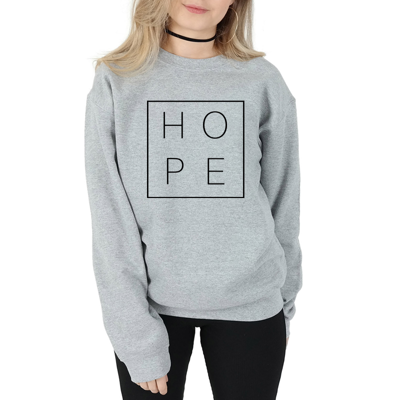 Spring Autumn Women Long Sleeve Hope Christian Sweatshirt Casual Letters Fashion Clothing Pullover Hope Faith Jumper Tops