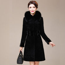 Real Fur Coat Women Long Winter Jacket Fox Fur Collar Sheep Shearing Wool Jackets Warm Mink Fur Coats Clothes 2020 822-1 KJ5185(China)