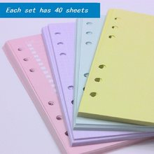 A5 A6 Colorful Refill Inner Pages Rechange Paper for Organizer Notebook Planner Filofax 100g 6 Holes Loose Leaf(China)