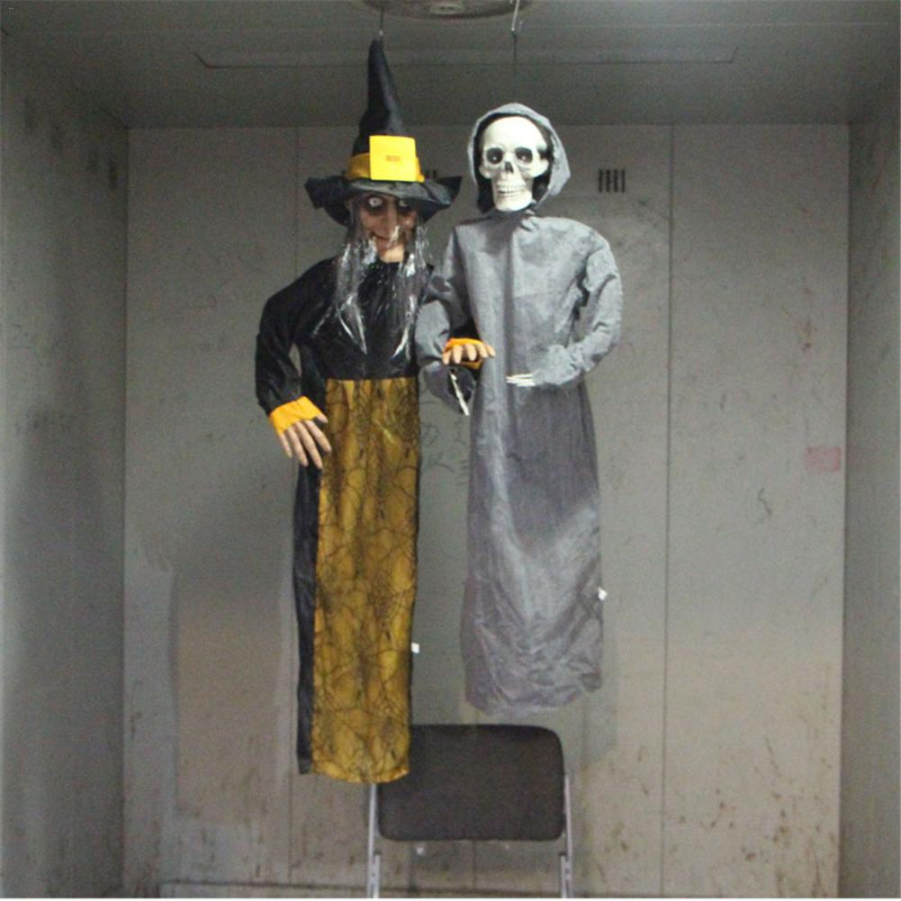Halloween horror props haunted house decoration electric toy sound control growing witch hanging ghost
