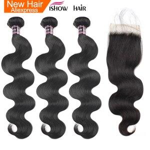 Ishow перуанские объемные волнистые пучки с закрытием 100% человеческие волосы пучки с закрытием не Реми 3 пучки волос с кружевом