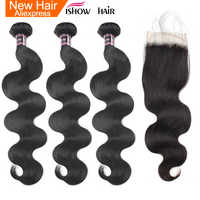 Ishow Peruvian Body Wave Bundles with Closure 100% Human Hair Bundles With Closure Non Remy 3 Hair Bundles with Lace Closure