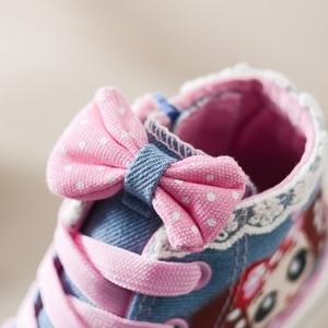 Image 2 - תינוק ילדים סניקרס ילדה קטנה נעלי בד עם תחרה אנטי חלקלק פונקציה עבור בית ספר וקניות