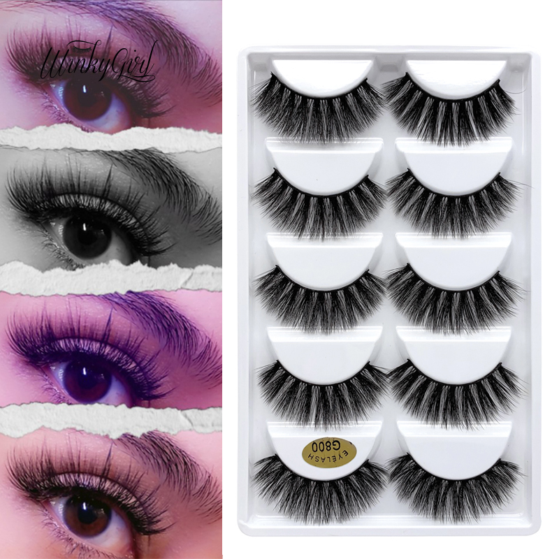 3D Faux Mink Lashes Synthetic Hair Cruelty Free Thick Soft Natural Eyelashes 5apir Lashes False Eyelashes Makeup Dramatic Lashes