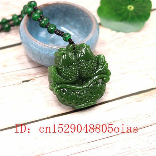 Natural verde chinês jade peixes pingente grânulos colar moda charme jadeite jóias esculpida peixe amuleto presentes para mulheres