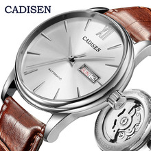 CADISEN גברים שעונים אוטומטי עצמי מכאני אמיתי רצועת עור מקורי תוצרת יפן HN36A תנועה עמיד למים שעון יד