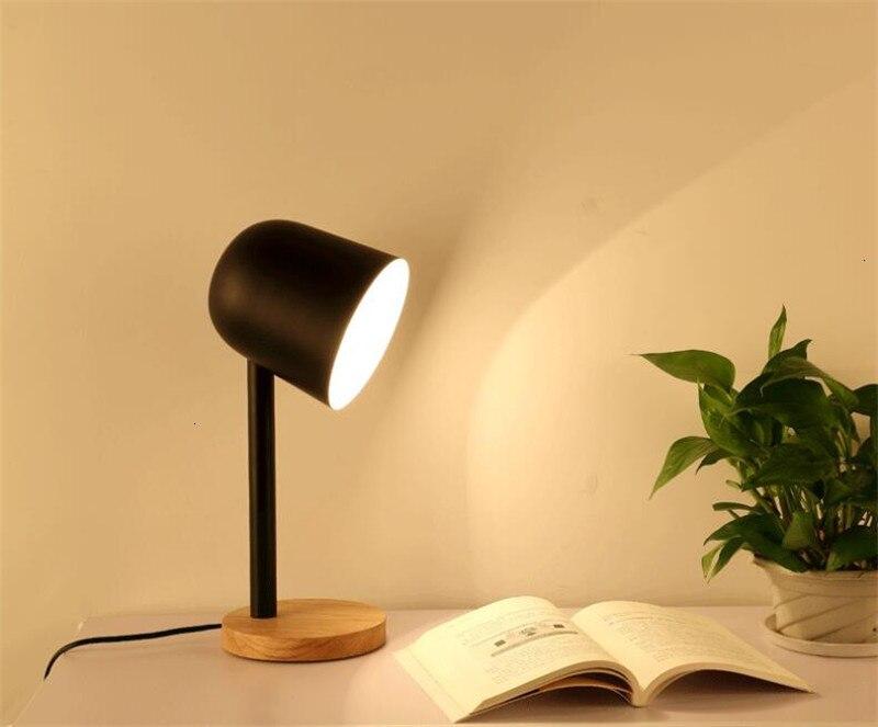 Mini Eenvoudige Ijzer Hout Tafellamp Oog Beschermen Bureaulamp Lampara De Mesa
