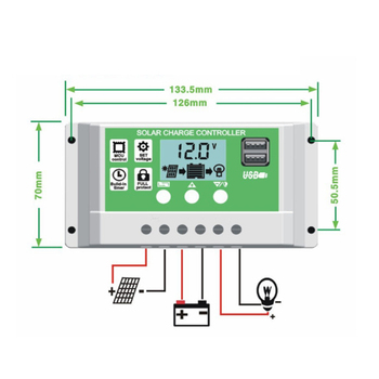 цена на 10A/20A/30A 12V 24V PWM Lithium Battery Solar Charge Controller LCD Display Dual USB Solar Panel Charger