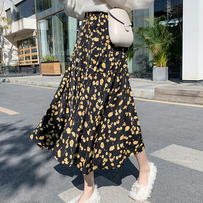 Chiffon Flower Print Simple Elastic High Waist Women Skirts 2020 Summer Spring Thin Basic Hit Hot Sale Female Skirt