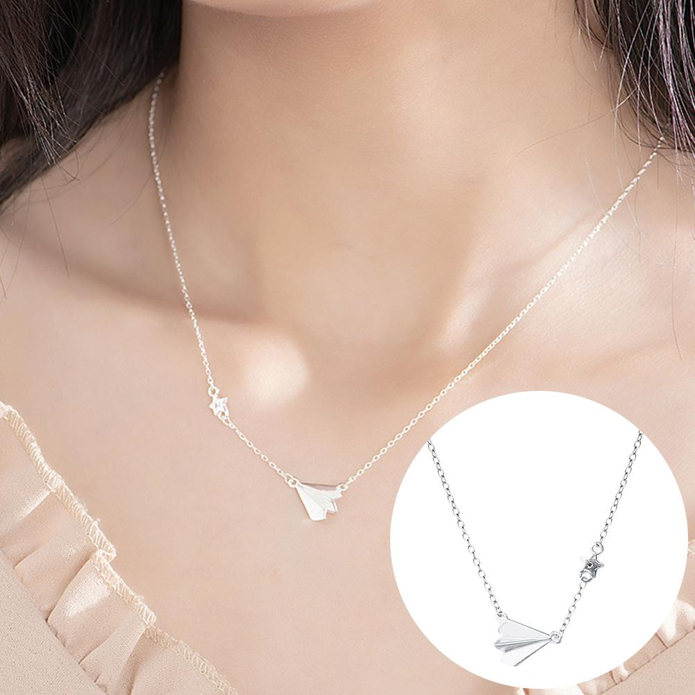 Women Necklace Airplane Star Pendant Silver Plated Clavicle Chain Necklace Jewelry Gift collares украшения женские image