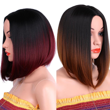 Dream ice's Ombre Brown Blonde Synthetic Short Bob Wig for Women Middle