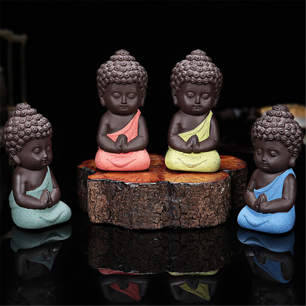 Lovely Ceramic Little Monk Figurine Home Decor Buddha Statue Figures Ornament For Car Living Room Teahouse FP8 JY05