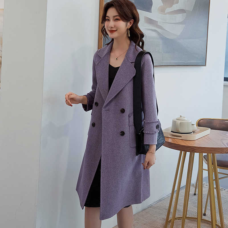 2019 winter new double-sided pure cashmere women's coat loose long-sleeved solid color wild long woolen cashmere coat