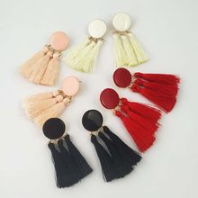 Fashion Charm Fringed Gold Round Earrings Earrings Ladies Wedding Party Long Tassel Personality Jewelry Accessories(China)