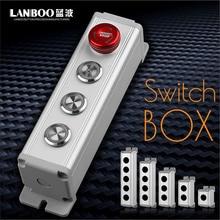 LANBOO 1 2 3 4 5 отверстий 16 мм/19 мм/22 мм водонепроницаемый алюминиевый сплав металлический кнопочный переключатель коробка с наружным блоком управления питанием