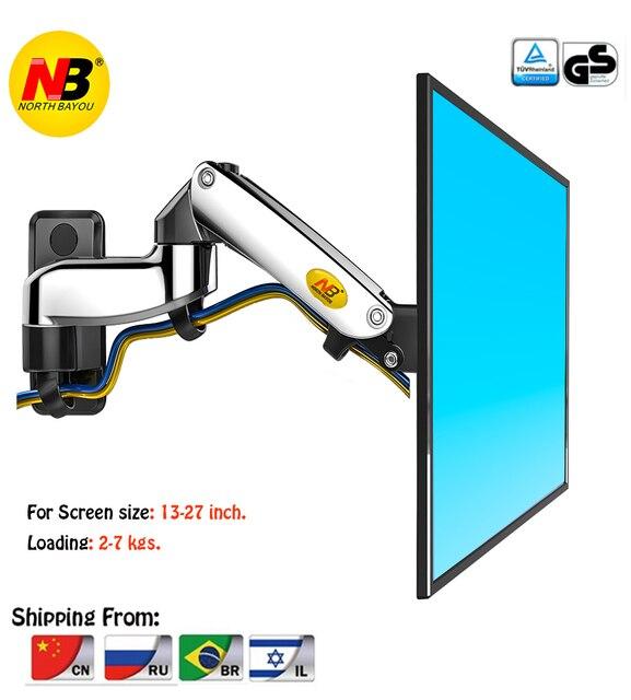 """NB F150 Aluminium Legierung 360 Grad 17 """" 27"""" Monitor Halter Gas Frühling Arm LED LCD TV Wand montieren Laden 2 7kgs"""