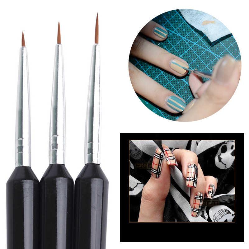 Vendita calda 3Pcs New Black Maniglia Che Punteggia Pittura Disegno UV Gel Liner Polacco Strumento Pennello Unghie artistiche Penna Set Unghie artistiche spazzole Strumento
