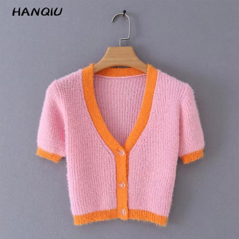 2020 Kawaii Pink Cardigan Womens Sweaters Korean Crop Sweater Button Sexy V Neck Cropped Sweater Cute Knitted Sweater Streetwear