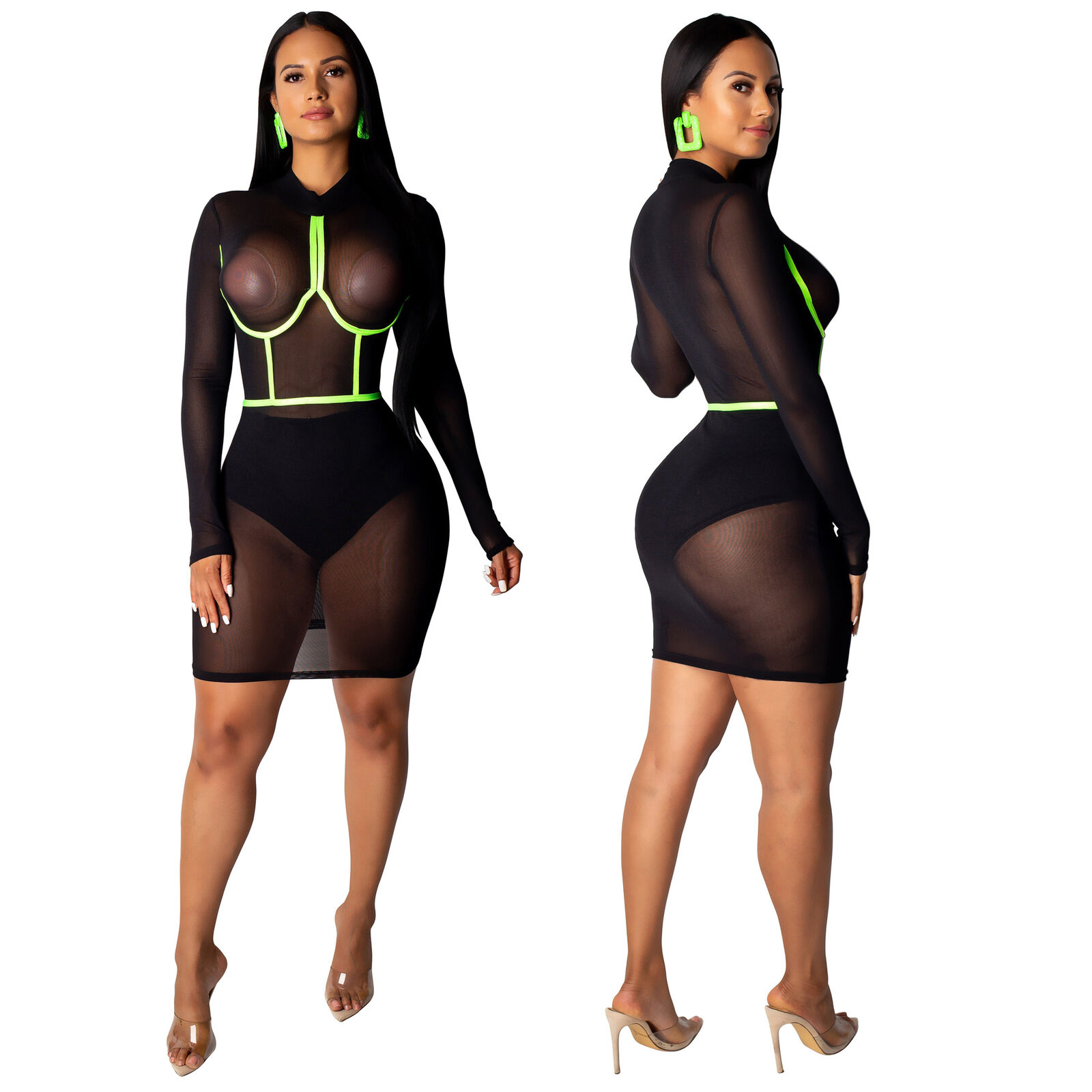 Fashion Brand New Women Mesh Sheer Bodycon Long Sleeve Party Clubwear Yellow Stripes Transparent Sexy Mock Neck Short Mini Dress