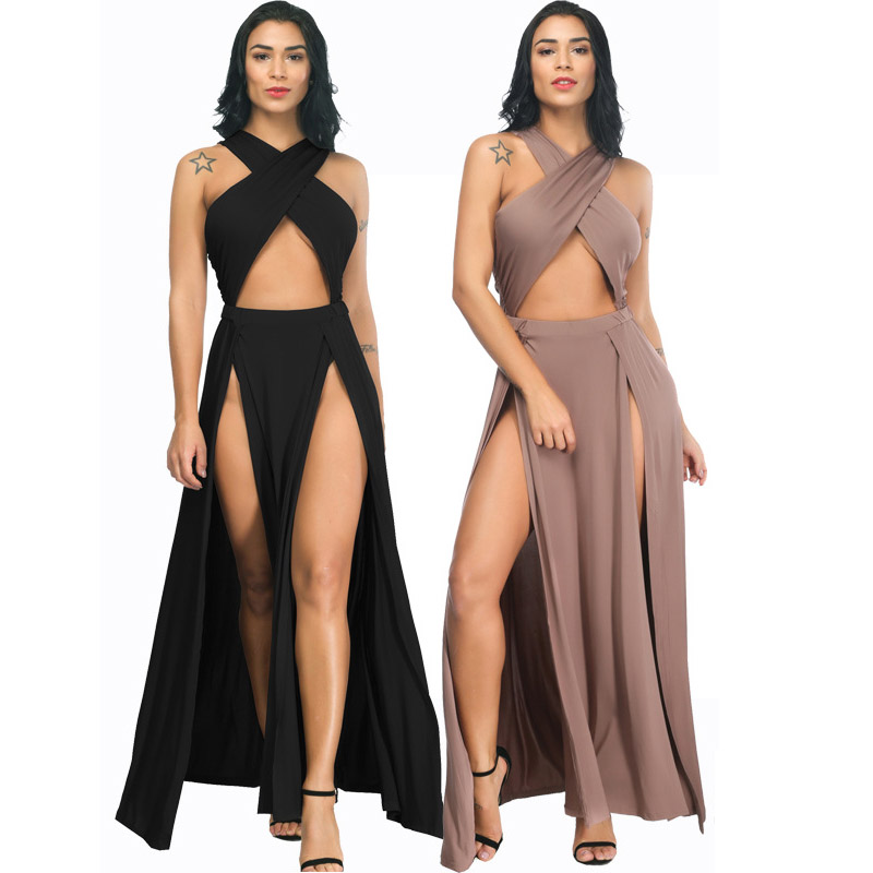 Новое поступление, Сексуальное Черное длинное платье с неровным разрезом, 2020, модные женские летние платья, Повседневные Вечерние платья дл...
