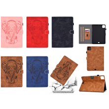 Luxury 3D Embossed Elephant Leather Flip Wallet Case for iPad Pro 11 inch 2020 A2231 A2228 Silicone Cover Stand with Auto Sleep