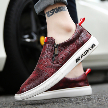 Zapatos casuales de cuero para hombre mocasines de cuero auténticos zapatos casuales de hombre mocasines de patrón de cocodrilo de cuero zapatos perezosos de Inglaterra