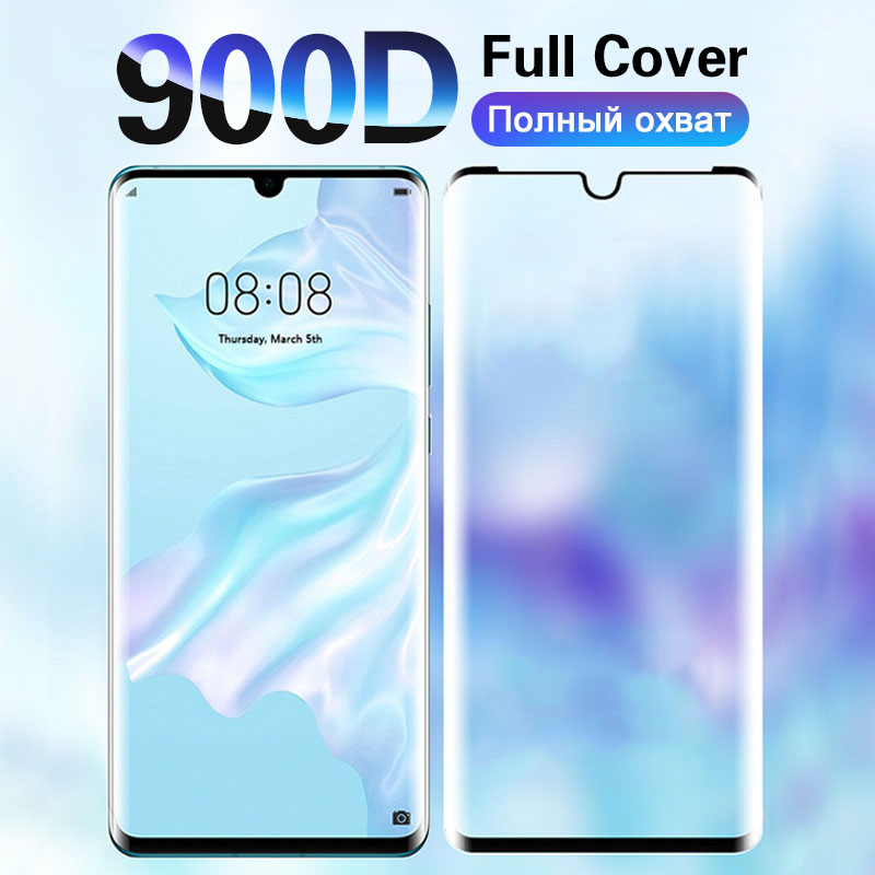 900D Tempered Screen Glass For Huawei P30 P20 Honor 9 Pro Full Curved Edge Screen Protector Mate 20 30 Pro Lite Protective Glass