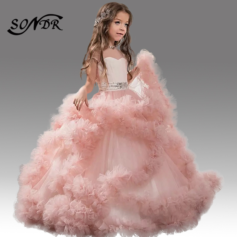 Купить платья с рюшами и цветочным узором для девочек; платье торжеств