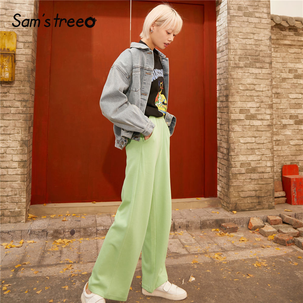 SAM'S TREE Black Solid Straight Wide Leg Casual Women Pants 2020 Spring Pure Elastic Waist Loose Office Ladies Basics Trousers
