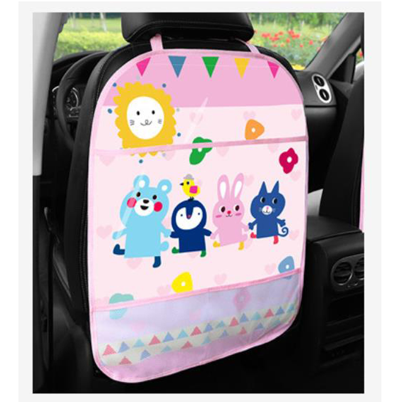 1PC Car Seat Back Children Anti-kick Pad Protector Cartoon Waterproof Cover Rear Kick Mat With Phones Tablet Pocket