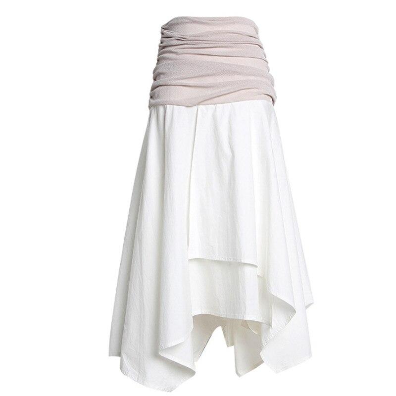 DEAT 2020 New High Waist Pleated Asymmetrical Mutli-layer Big Bottoms Half Body Skirt Zippers Waist Seal WL65500L
