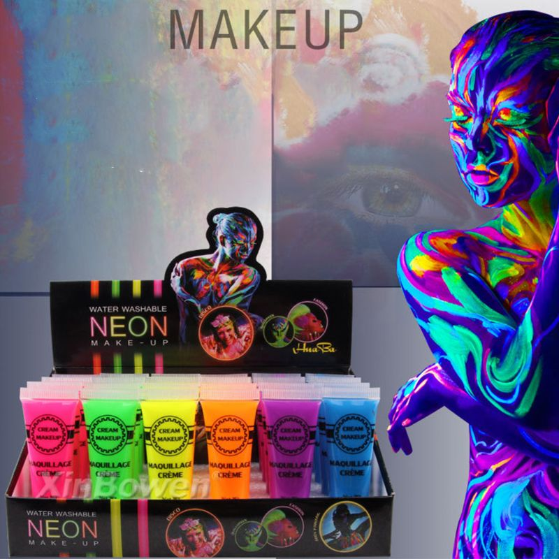 6 Pcs Set Face & Body Paint Neon Glow In The Dark For Rave Festival Party Pigment Powder