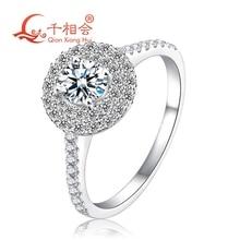خاتم ذهبي أبيض 18 كيلو مع 5 مللي متر شكل دائري DF مويسانيتي ستون للنساء مجوهرات الحفلات