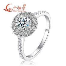 18k white gold Ring with 5mm round shape DF moissanite stone for Women Party Jewelry