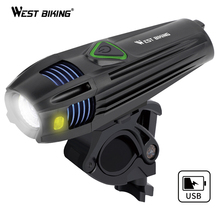 WEST BIKING 5 Modes Bicycle Front Light USB Recharge 2000mAh  Waterproof Bike Flashlight LED Lantern Lamp