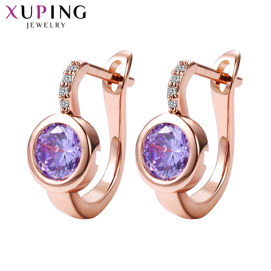 Купить с кэшбэком Xuping Fashion New Design Hoop Earrings with Synthetic Cubic Zirconia Valentine's Day Luxury Jewelry for Women Girl Gifts 20160